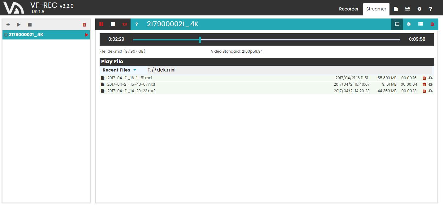 DekTec VF-REC - Advanced TS/SDI/4K recording software